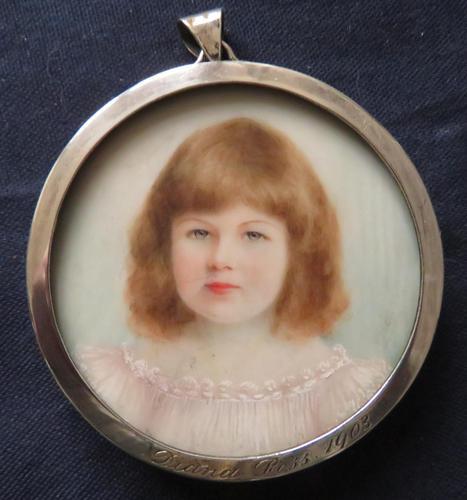 Miniature Portrait Jean Ross 1903 Edwardian Hallmarked Silver Frame Engraved (1 of 4)