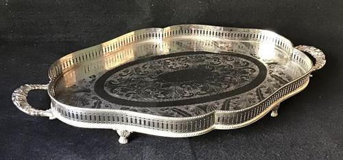 Silver Plated Serpentined  Two Handle Galleried Tray (1 of 8)