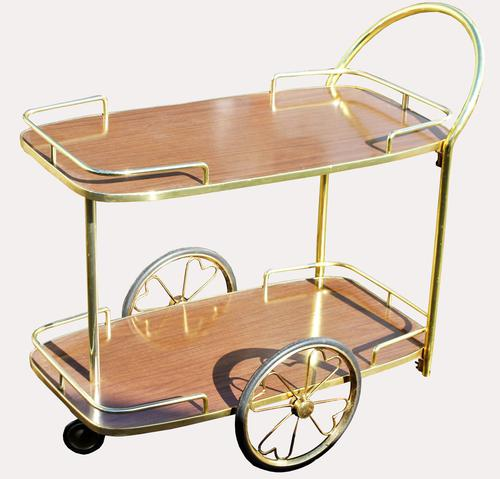 Lovely Quality Retro Brass Drinks Trolley (1 of 1)