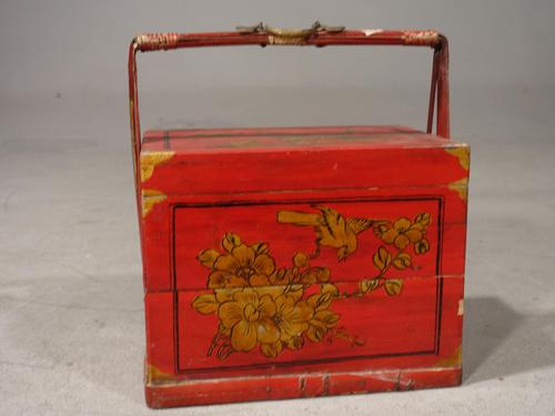 Attractive Early 20th Century Red Lacquer Picnic Basket (1 of 5)