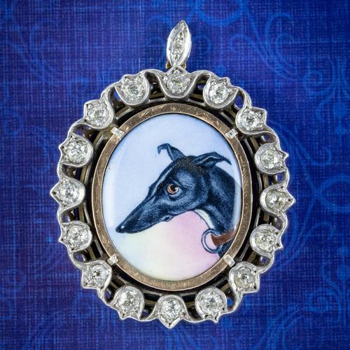Antique Victorian Diamond Greyhound Locket Pendant Silver c.1870 (1 of 7)
