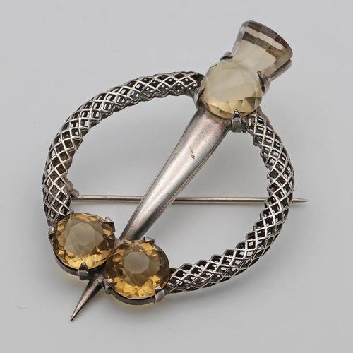Vintage Scottish Silver & Cairngorm Citrine Brooch (1 of 3)