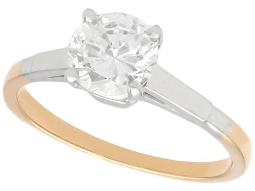 0.93ct Diamond & 18ct Yellow Gold Solitaire Ring - Vintage c.1940 (1 of 9)