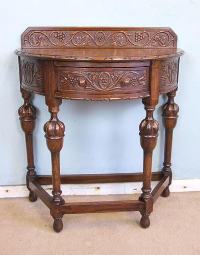 Antique Jacobean Style Carved Oak Demi Lune Side Table (1 of 8)