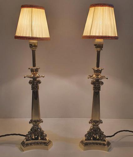 Pair of 19th Century Brass Empire Style Candlesticks Converted to Table Lamps (1 of 6)