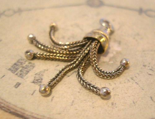 Antique Pocket Watch Chain Tassel Fob 1890 Victorian Silver Nickel Dainty Fob (1 of 5)