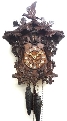 Antique Carved Early Cuckoo Clock Weight Driven Visible Pendulum (1 of 14)