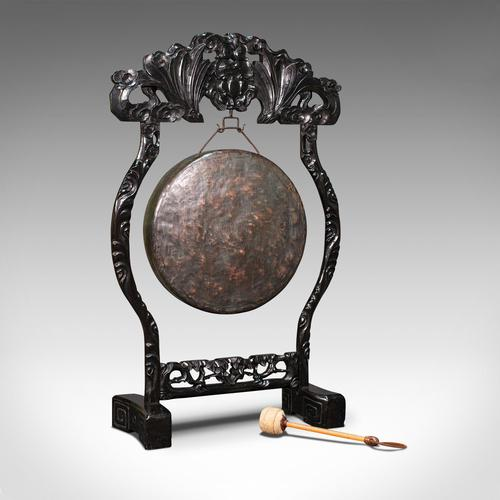Antique Dinner Gong, Oriental, Ebonised Teak Stand, Chinoiserie, Victorian, 1880 (1 of 12)