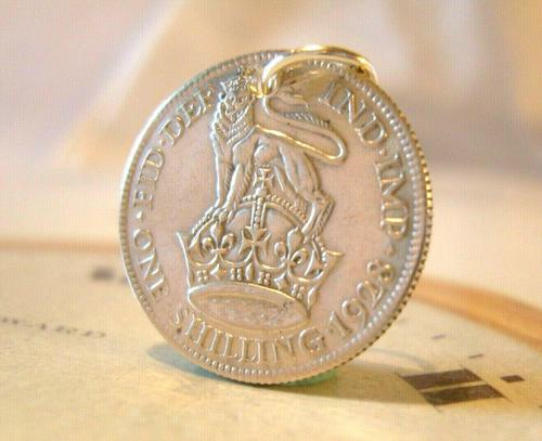 Antique Pocket Watch Chain Fob 1928 Lucky Silver One Shilling Old 5d Coin Fob (1 of 7)