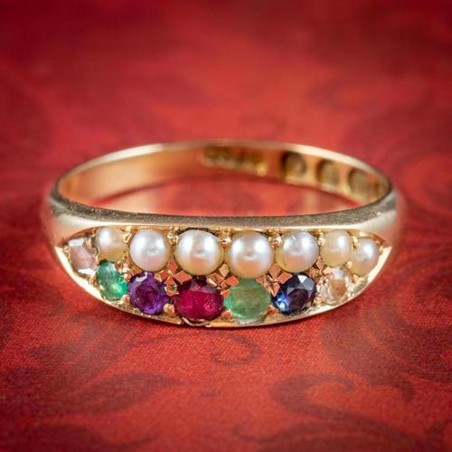 Antique Victorian Dearest Gemstone Ring 18ct Gold Dated 1889 (1 of 7)