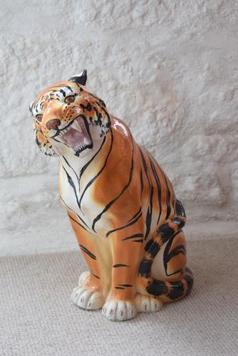 Large Mid-Century Italian Ceramic Tiger (1 of 10)