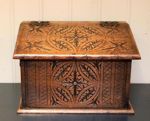 Solid Oak Carved Box (1 of 8)