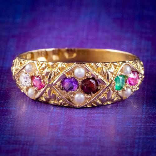 Antique Victorian Regard Gemstone Ring 18ct Gold Dated 1880 (1 of 7)
