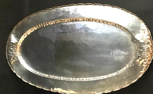 Arts & Crafts Silver Plated Oval Butlers Tray (1 of 4)
