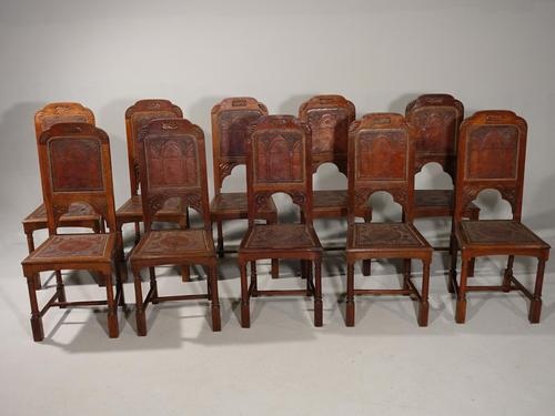 Tightly Designed Set of 10 Early 20th Century Oak Framed Chairs (1 of 5)