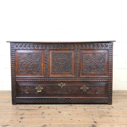 18th Century Carved Oak Mule Chest (1 of 13)