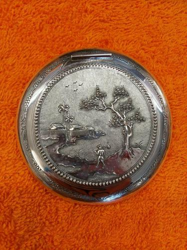 Vintage Solid Silver 0.900 Vietnam MY Ngme Compact with Mirror (1 of 8)