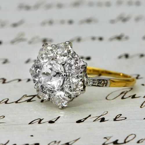 The Antique 3 Carat Diamond Cluster Ring (1 of 6)