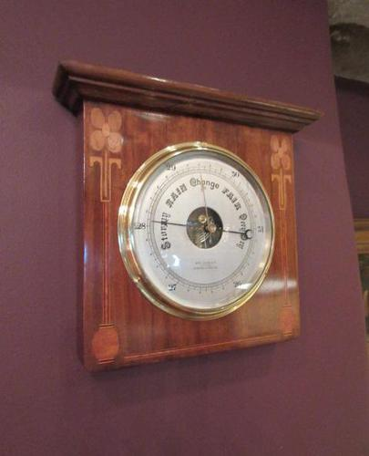 Superb Art Nouveau Antique Inlaid Barometer (1 of 7)