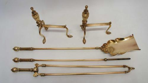 """Three piece Victorian 27"""" Brass Fire Irons or Companion se plus Andirons (1 of 15)"""