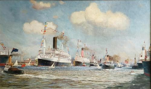 James Scrimgeour Mann Oil Painting 'Flotilla, including White Star Line on the River Mersey, Liverpool (1 of 2)