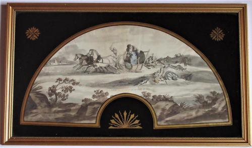 Rare Spanish paper fan-leaf, c1813, Napoleon's retreat from Moscow. original mount (1 of 6)