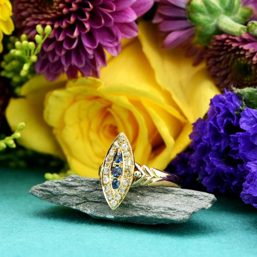 The Antique Edwardian 1905 Sapphire & Diamond Navette Gold Ring (1 of 7)