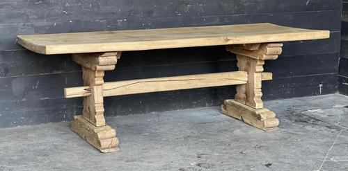 Rustic French Bleached Oak Farmhouse Dining Table (1 of 15)