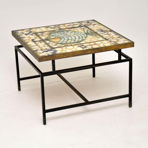 1960's Tiled Top Brass Coffee Table (1 of 18)