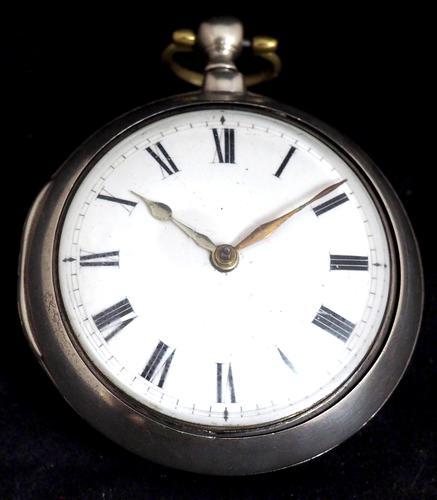 Antique Silver Pair Case Pocket Watch Fusee Verge Escapement Key Wind Enamel J Crainbrook (1 of 10)