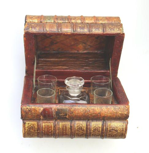 Scarce Novelty Drinking Set Contained in Secret Stack of Books c.1890 (1 of 15)