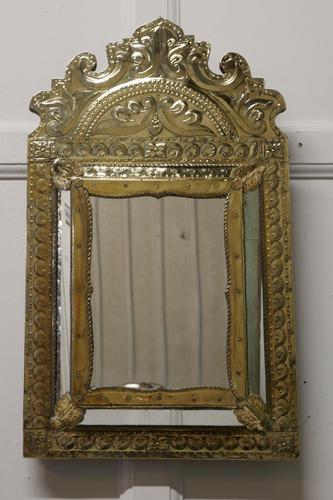 Napoleon III French Brass Cushion Mirror (1 of 7)