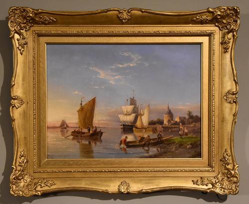 """Oil painting by Pieter Cornelis Dommersen """"Hoorn on the Juiderzee"""" (1 of 6)"""