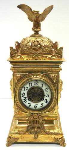 Good French Ormolu Cubed Classic 8 Day Striking Mantle Clock (1 of 11)