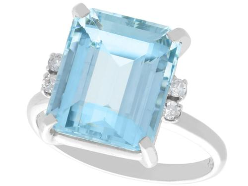5.72ct Aquamarine & Diamond 15ct White Gold Dress Ring - Vintage c.1950 (1 of 9)