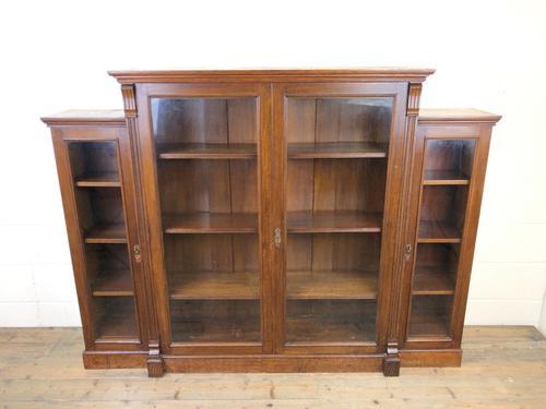 19th Century Antique Oak Breakfront Glazed Bookcase (1 of 15)