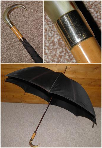 Vintage M.P 9 Carat Rolled Gold Gents Walking Length Umbrella with Black Canopy (1 of 11)