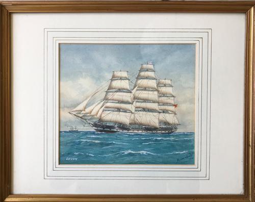 Watercolour by Pelham Jones 'The Ship Devon' (1 of 1)