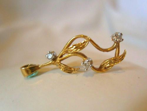 9ct Gold & Diamond Leaf Pendant 1980 Fully Hallmarked 2.8cm Length 1.1 Grams (1 of 9)