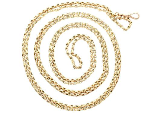 9ct Yellow Gold Longuard Chain - Antique c.1890 (1 of 12)