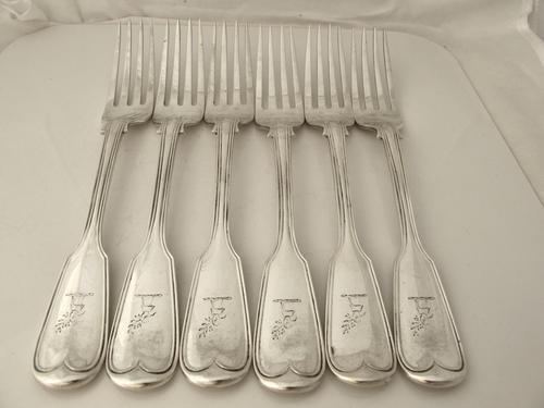 Fine Set of 6 Antique Silver Fiddle & Thread Pattern Dinner Forks George Adams London 1857 (1 of 6)