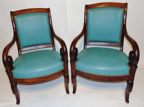 Pair French Empire mahogany elbow chairs (1 of 9)