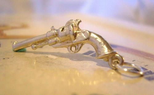 Vintage Pocket Watch Chain Gun Fob 1970s Solid Silver Revolver Pistol Fob (1 of 8)