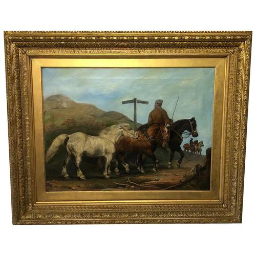 """Victorian 19th Century Oil Painting Horses """"On The Road"""" To Chester Edward Lloyd Ellesmere (1 of 56)"""
