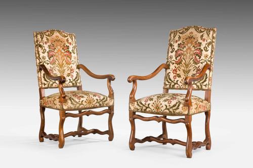 Pair of Beech Wood 17th Century Design Armchairs c.1900 (1 of 6)