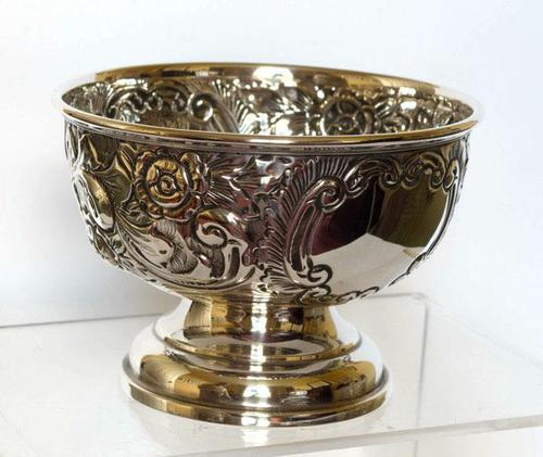 Small Edwardian Silver Bowl with Scrolls & Flowerheads - Birmingham 1909 (1 of 4)