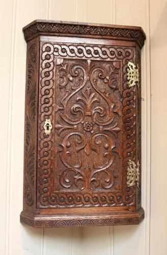 Mid 19th Century Carved Oak Corner Wall Cabinet (1 of 8)