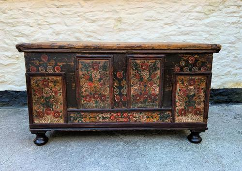 Large 19thc Swedish Country House Robust Painted Pine Storage Coffer Chest (1 of 18)