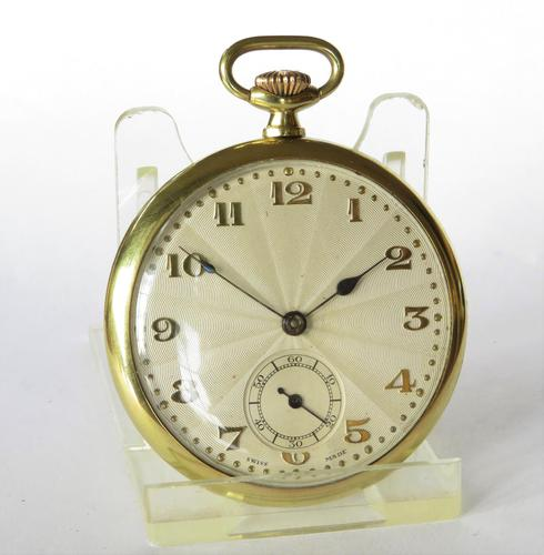 1930s Art Deco pocket watch, super sunburst dial (1 of 4)