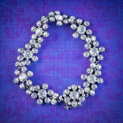 Antique Victorian Paste Bracelet Sterling Silver Dated 1895 (1 of 6)